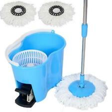 Microfiber Spin Mop Easy Floor with Bucket & 2 Mop Heads 360 Rotating Head, Blue