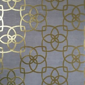 Contemporary Geometric lines wallpaper charcoal gray gold metallic Textured 3D