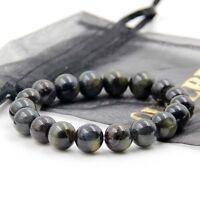 Blue Tiger Eye Gem Tibet Buddhist Prayer Worry Beads Mala Bracelet