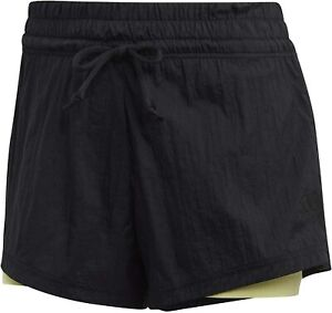 Adidas 2 in 1 Mesh Shorts XS Black Yellow Tights Can Be Worn Separately BNWT