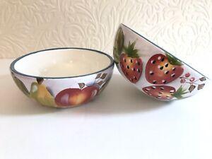 Black Forest Fruits Cereal Bowls Heritage Mint Blue Rim EXC Set of Two