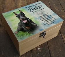 Wooden box casket urn cremation,memory keepsake, Doberman or any dog / pet breed