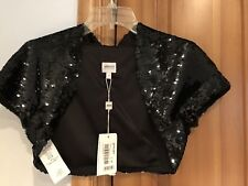 ARMANI COLLEZIONI BLACK SEQUIN CROPPED Bolero Shrug Capelet Jacket  NEW Sz4