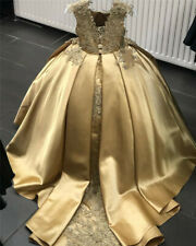 Gold Flower girl Dress for Wedding Lace Applique Satin Kid Birthday Party Dress