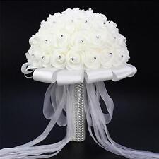 Wedding Bridal Bridesmaid Bouquet Foam Rose Artificial Flowers w/ Diamond White