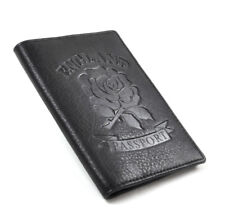 England Black Embossed Leather Passport Wallet with Red Leather Lining