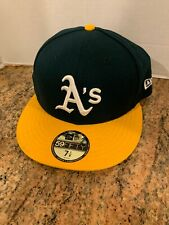 New Era Oakland Athletics A's Fitted Hat Dark Green Yellow NWT