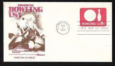 #U563 8c Bowling - Stamped Envelope - Fleetwood FDC