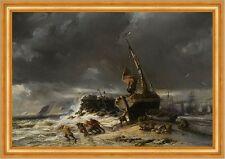 MAREE BASSE EUGENE ISABEY tempête bateau mer bateaux à voile plage hommes B a3 01719