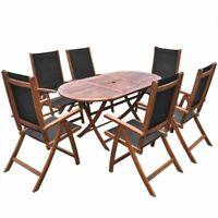 vidaXL Acacia Wood Outdoor Dining Set 7 Piece Folding Furniture Dinner Chair