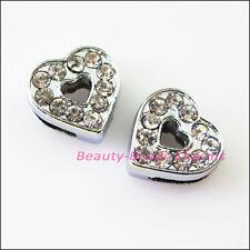 3Pcs Crystal Rhinestone Slide Heart Beads Charms Wristband DIY Bracelets 12x13mm