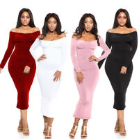 Women Off Shoulder Long Sleeve Bodycon Bandage Evening Cocktail Party Midi Dress