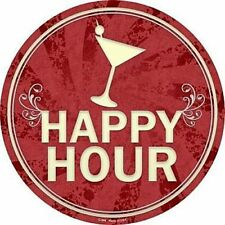 "Happy Hour 12"" Round Metal Sign Novelty Decorative Drinks Home Bar Wall Decor"
