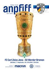 Programm FC Carl Zeiss Jena -  SV Werder Bremen   12.09.2020  DFB Pokal