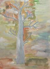 FAUVIST LANDSCAPE TREE VINTAGE GOUACHE PAINTING SIGNED