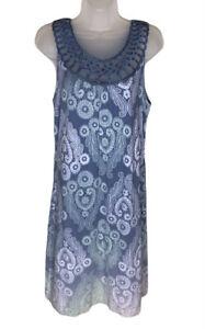 Soma Sleeveless Dress Size M Blue Trellis Goddess Lounge Dress Knit Knee Length