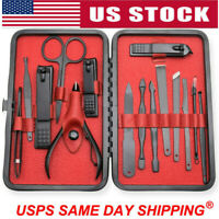 15Pcs Stainless Steel Professional Manicure Pedicure Kit Nail Clippers Set Tools