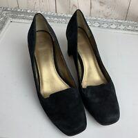 Circa Joan & David Luxe women's black suede heels Size 10