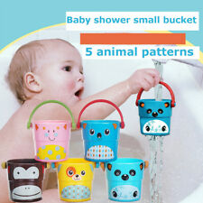 Bath Bucket Toy Baby Kid Shower Animal Small Portable Plastic Stacking Pour