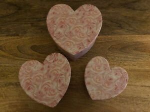 Set of 3 nesting pink heart shaped boxes - Decor Craft Storage Gift Box