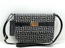 Tommy Hilfiger Front Flap Crossbody Handbag Black White Logo New! NWT