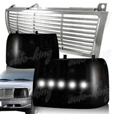 CHROME GRILLE+ SMOKE LENS DRL LED HEADLIGHTS FIT 99-02 CHEVY SILVERADO 1500 2500