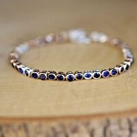 Sapphire Ladies Waterway Bracelet 925 Sterling Silver Handmade Tennis Bracelet