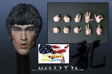 1/6 Bruce Lee Head Sculpt 6.0 open mouth w/ hands for Hot Toys Phicen M32 ❶USA❶