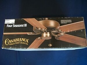 Casablanca World's Finest Ceiling Fan FOUR SEASONS III Bushed Nickel Cherrywood