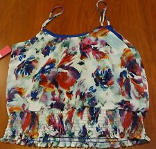 Xilharation Smocked Waist Violet Floral Top  Spaghetti Straps Juniors M New