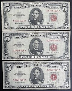 1963 $5 Red Seal Legal Tender Note Dollar Bill - Lot Of 3 (C152)