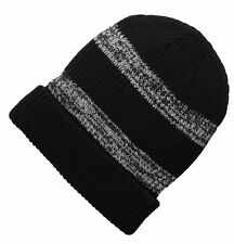 GIFTS FOR MEN Levi's Cable Knit Two-Toned Striped Mens Beanie Hat Black Grey