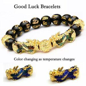 Feng Shui Black Obsidian Beads Pi Xiu Wealth Bracelet Good Luck Unisex Jewellery