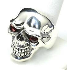 Sterling Silver Large Skull with Red Stone Eyes Biker Ring Size 12.75 Mens