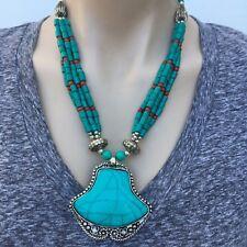 NL-164 Antique Handmade Nepalese Artisan Tibetan Turquoise Coral Necklace