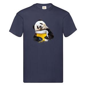 T-Shirt Panda loves beer Bild Design Ich liebe Bier Premium Druck versch. Farben
