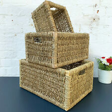 Rectangular Woven Seagrass Hampers Bathroom Kitchen Wicker Basket Storage Gift