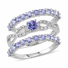 Sterling Silver Tanzanite & 1/10 Ct TDW Diamond Three Piece Infinity Ring Set