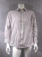 STAFFORD - EXECUTIVE Burgundy White Stripe Pinpoint OXFORD Dress Shirt 161/2 34