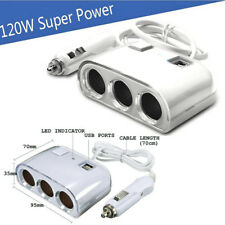 Prise Allume Cigare 3 Port DC 12V + 2 Port USB Adaptateur Chargeur Multiprise WH