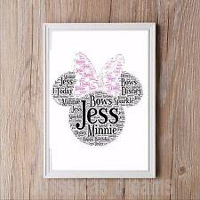 Personalised Minnie Mouse Word Art Gift Keepsake Birthday Children Disney old