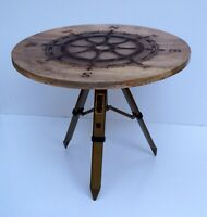 Wooden round coffee tea table nautical ship wheel design antique tripod stand