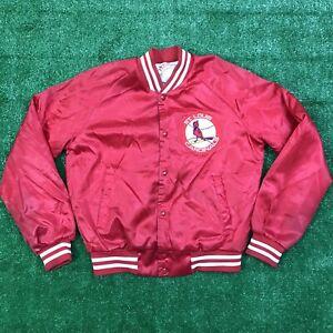 Rare Vintage LOCKER LINE St. Louis Cardinals BASEBALL Satin Varsity Jacket 80s M