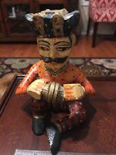 Mid 1900's Clay Hindi Mughal Style Indian Yarn Weaver Art Statue FREE SHIPPING
