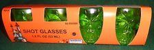 Green Halloween Plastic Skull Shot Glasses Set of 4
