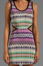 Parker Slash Cutout Leather Trim Dress – Shockwave Tribal Pattern - Small