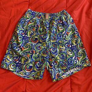 "Vintage Techna Sport Cotton Swim Trunks Shorts Blue Green Red Swirls SIZE S 7"""