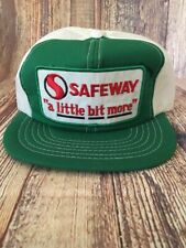 Vintage Mesh Snapback Trucker Hat Cap Safeway A Little Bit More Green Grocery