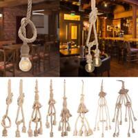 1/2/3 Meters E27 Hemp Rope 1/3/5 Head Vintage Hanging Pendant Ceiling Light Lamp