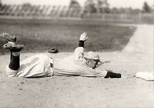 TY COBB DISPLAYS GRACE AS HE DIVES HEAD FIRST BACK INTO 1ST BASE CLASSIC VIEW